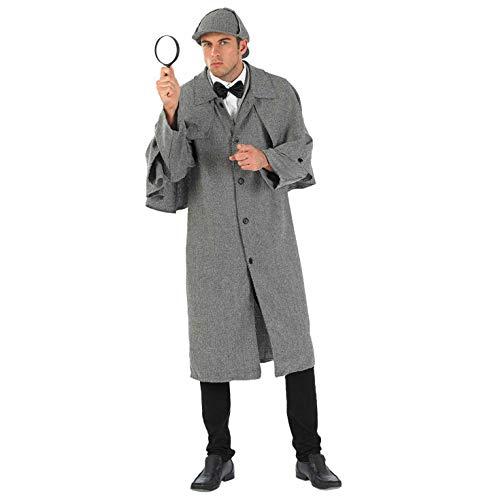 Fun Shack Graues Detektiv Kostüm für Herren, Detektiv Set, Faschingskostüm Erwachsene - M