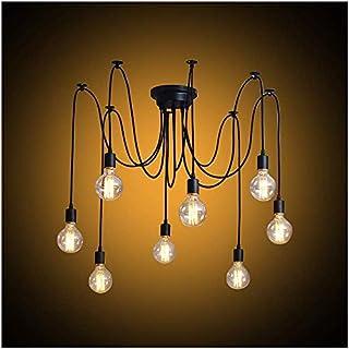 Lámpara de araña de estilo vintage, lámpara colgante industrial para cocina, dormitorio y decoración de hotel, metal, Negro 40.00W