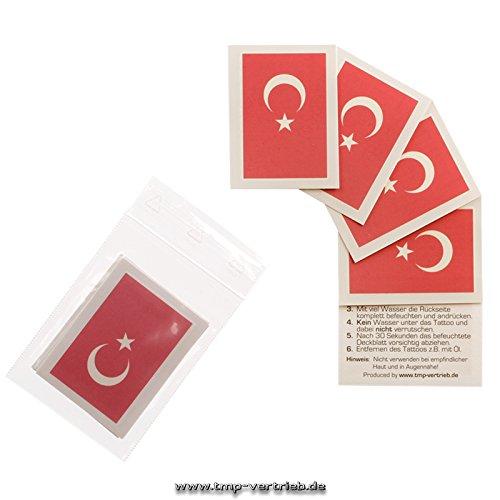 5 x Türkei Tattoo Fan Fahnen Set - Turkey temporary tattoo Flag (5)