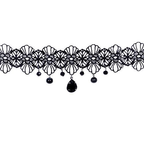 Namgiy Collana girocollo di pizzo in stile gotico, elastica, girocollo per signore e ragazze, perfetto per una festa, un matrimonio o come regalo