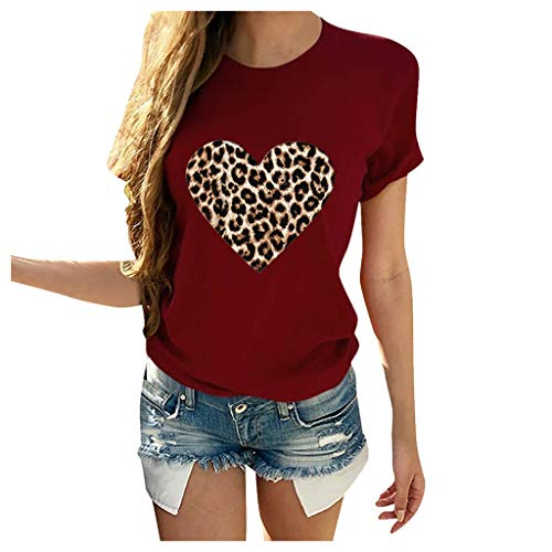 NANTE Top Femmes Blouses Imprimé léopard T-shirt Casual Manches Courtes Col O T-shirt T-shirt Tunique Chemises Saint Valentin, Femme, bordeaux, Large