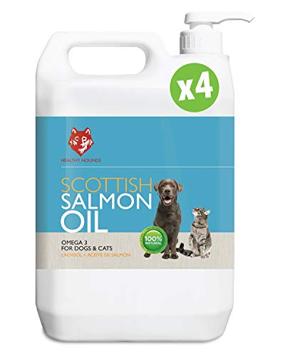 Healthy Hounds Scottish Salmon Oil for Dogs, Cats, Horses, Ferrets & Pets 20,000 ml | 100% Pure Premium Food Grade Natural Omega 3, 6 & 9 Supplement | (4 x 5000ml)
