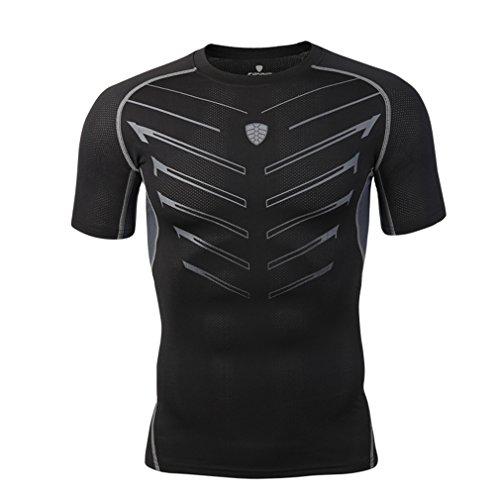 emansmoer Hommes Séchage Rapide Slim Fit Training Élastique T-Shirts Compression Running Tee Shirts Cyclisme Base Layer Vêtement De Sport Fitness Tops Costume (M, Noir)
