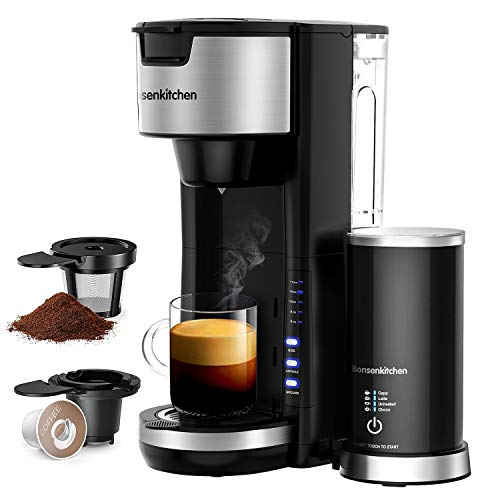 Singles Serve Coffee Makers With Milk Frother, 2-In-1 Coffee Machine For K Cup Pod & Coffee Ground, Latte and Cappuccino Maker, Built in Portable Electric Milk Steamer