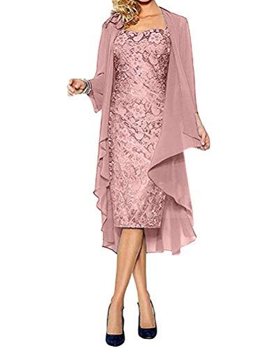 Minetom Damen Spitzenkleid Cocktailkleid Festliche Brautjungfernkleider Für Hochzeit Knielang Abendkleider Spitzen Ärmellos Vintage Damenkleider Tüll Boleros C Rosa 42
