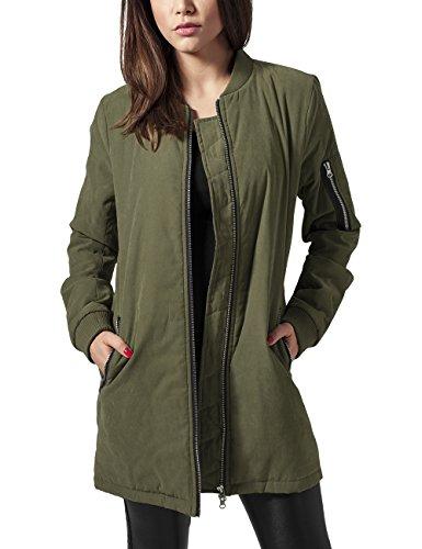 Urban Classics Damen Ladies Peached Long Bomber Jacket Jacke, Grün (Olive 176), 40 (Herstellergröße: L)