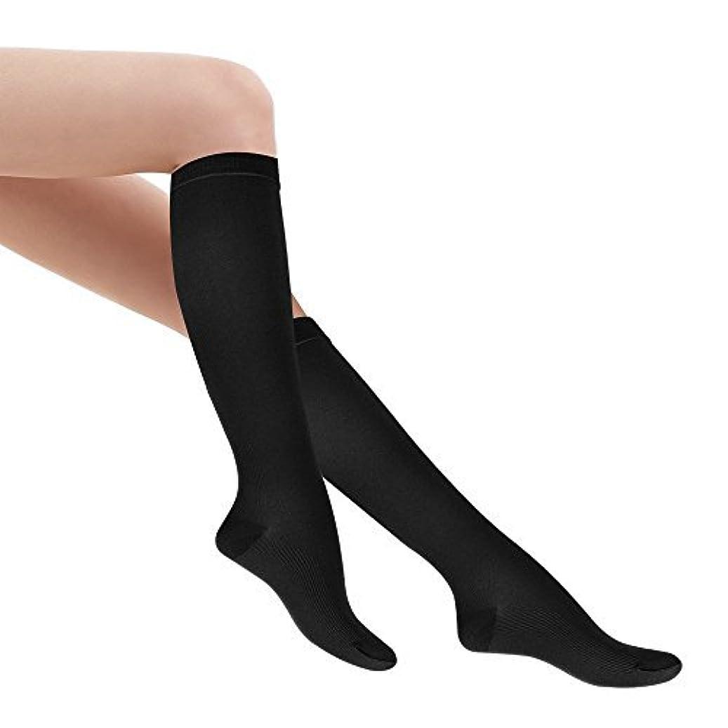 目立つ意味のある操作可能Fytto 着圧ソックス レディース 着圧 ハイソックス 段階着圧設計20~27hPa ビジネス ソックス 靴下 足のむくみ 解消 女性カジュアルタイプ(M, ブラック)