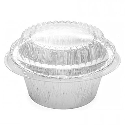 TELEVASO - 100 uds - Envase recipiente de aluminio para flan + tapas de plástico transparente - Capacidad 120 ml y tamaño Ø 85 x 39 mm - flaneras desechables y reciclables, altas temperaturas
