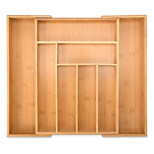 HEIMWERT Schubladen Organizer Ordnungssystem Besteckkasten - 8 Fächer individuell ausziehbar - Trenner für Schublade in Küche und Schreibtisch Büro Aufbewahrung mit Trennwand drawer aus Bambus