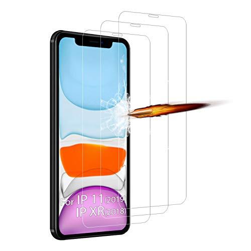 ANKENGS Verre Trempé Compatible avec iPhone 11 (6.1Pouces) Verre Trempé Protecteur d'écran [3 Pièces] [sans Bulles] [dureté 9H] [HD Full Coverage]