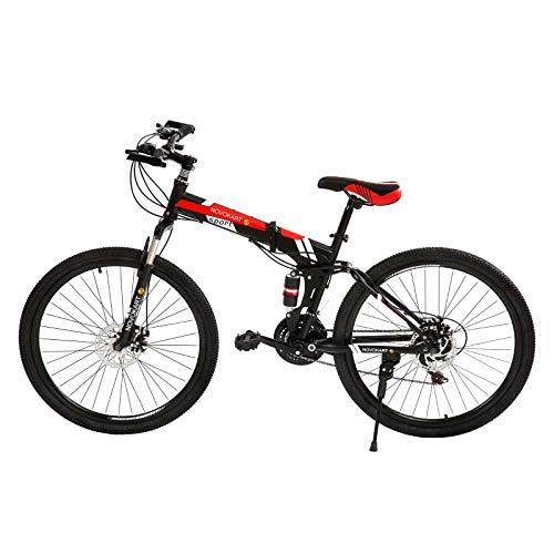 Novokart Bici Pieghevole, Bike Unisex-Adult, Nero&Rosso, 21-stage shift