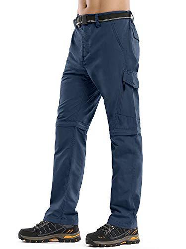 Men's Convertible Cargo Pants, Water Repellent Hiking Pants, Zip Off Lightweight Stretch UPF 50+ Fishing Outdoor Pants #6088 Blue-40