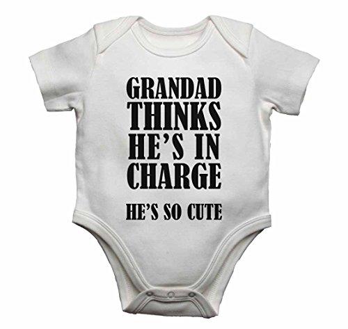 Grandad pense qu'il est en charge Il est si mignon – Bébé gilets bodies bébé SE Développe pour garçons, filles – Blanc – 18–24 mois