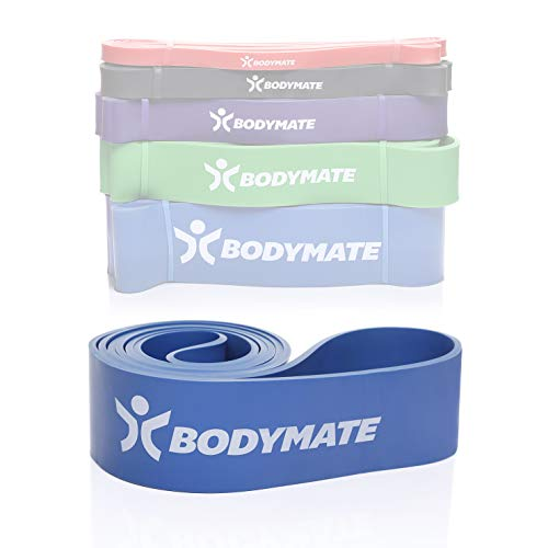 BODYMATE Fitnessband 208 cm, elastisches Widerstandsband aus Naturlatex, trainiert Kraft, Ausdauer, Koordination, Flexibilität UVM, für Anfänger & Profis, in Blau