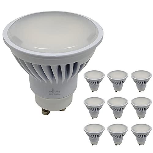 Pack 10x GU10 LED 8,5w Potentísima. Color Blanco Frio (6500K). 970 lúmenes. Única con ángulo 120 grados.