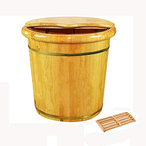 Review Solid Wood Natural Wood Foot Soaking Bucket Durable Foot Basin with Lid Massage Cedar Pedicur...