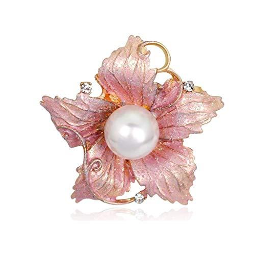 SSMDYLYM Portátil Rhinestone Crystal imitación de Perlas ramilletes Esmalte Floriated Broche for la Mujer