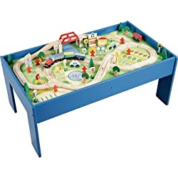 Take an adventure through the world of Chad Valley with this stunning 90 piece train set presented on a sturdy wooden table. Get inventive with endless track possibilities. It's a great toy for little train fans with big imaginations. Helps develop c...