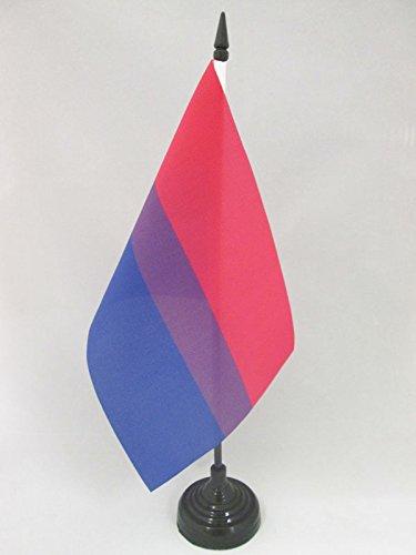AZ FLAG Bandera de Mesa Arco Iris Bisexual 21x14cm - BANDERINA de DESPACHO Bisexual – Rainbow 14 x 21 cm