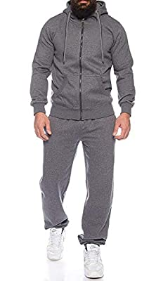COOFANDY Activewear Slim Fit Track Pant and Track Jacket Sports Jogger Athletic Casual Outfit Set Grey, X-Large