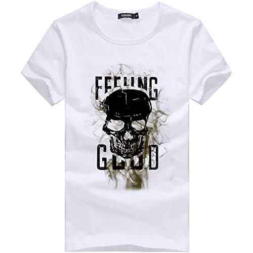 Xmiral Kurzarm Oberteile Herren Schädel Drucken Buchstabe Rundhalsausschnitt Tees Shirt Baumwolle Frühling und Sommer T-Shirt(3XL,Weiß)