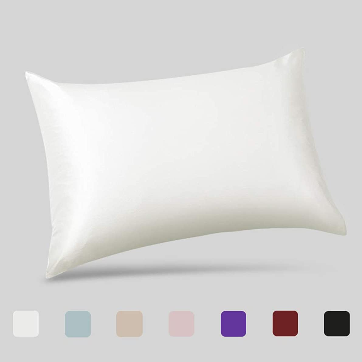 ALASKA BEAR - Natural Silk Pillowcase, Hypoallergenic, 19 momme, 600 thread count 100 percent Mulberry Silk, Queen Size with hidden zipper (1, Ivory(Natural Undyed White)) andzvwh16