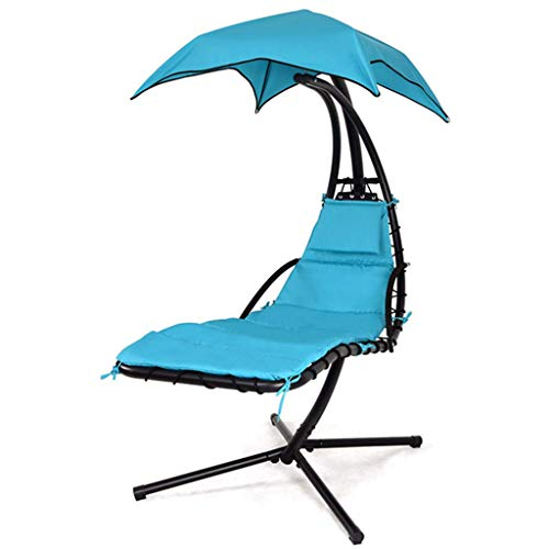 Hanging Chaise Lounger Chair/Garden Patio Hammock Swing Hammock Swing Chair Sun Lounger Hanging Hammock Reclining Seat W/Arc Stand & Canopy Umbrella,Blue
