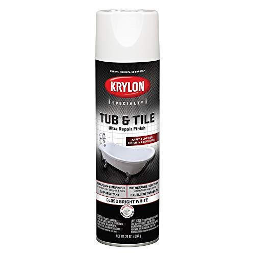 Krylon K04502007 Tub & Tile Ultra Repair Finish Spray Paint, Aerosol, Bright White, 20 Ounce