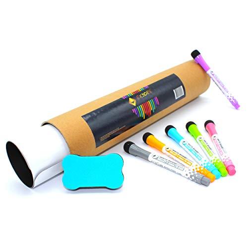 Magnetisches Whiteboard abwischbar für die Kühlschrank Küche, Magnetfolie, für Planungsaufgaben, Familienplaner und Menüs, Einkaufsliste, Zeichnungen, Nachrichten, mit 6 Markern und 1 Radiergummi