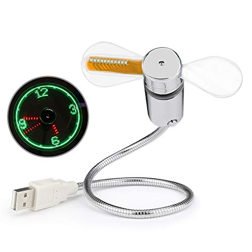 Flyproshop - Miniventilador USB con reloj LED, gadget flexible alimentado por USB con cuello de cisne, refrigeración para ordenadores portátiles y de sobremesa