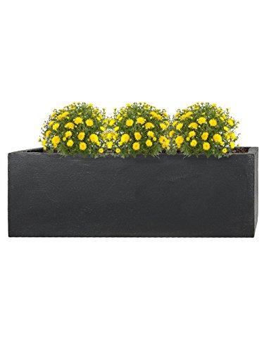Pflanzwerk® Pot de Fleur Fibre de Verre Tub Jardinière Anthracite 17x50x17cm *Résistant au Gel* *Protection UV* *Qualité européenne*