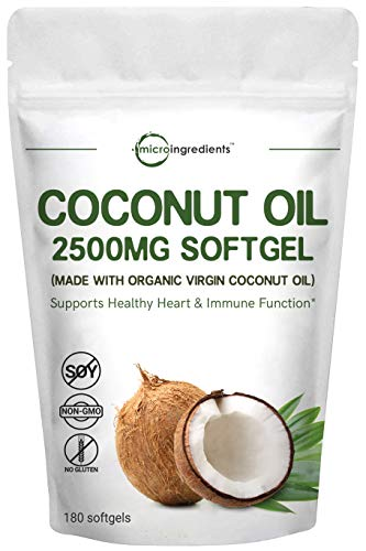 Maximum Strength Virgin Coconut Oil Supplement, 2500mg Per Serving, 180 Softgels, Supports Weight Management, Immune System and Heart Health, No GMO and Made in USA