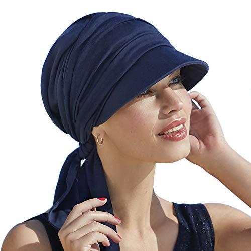 Christine Headwear Drapierte Onkokappe aus Baumwolle mit Visier und Sonnenschutz Index 50+ für Frauen, Behandlung mit Chemotherapie (Dunkelblau)