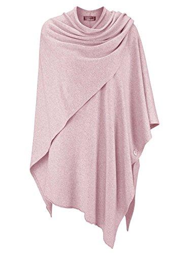 Zwillingsherz Poncho-Schal mit Kaschmir - Hochwertiges Cape für Damen - XXL Umhängetuch und Tunika mit Ärmel - Strick-Pullover - Sweatshirt - Stola für Sommer und Winter von Cashmere Dreams (rosa)
