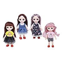 yotijar 4人形/個6インインロングヘア14球体関節人形と服靴女の子人形