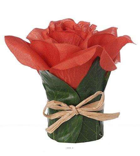 Artif-deco - Tete de rose artificielle rouge cerise en composition h 9 50 cm et d 7 cm magnif