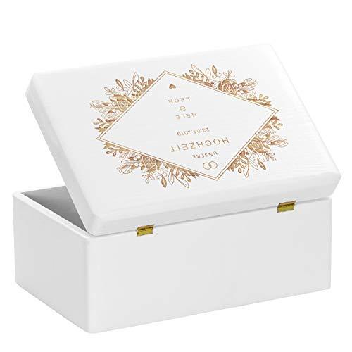 LAUBLUST Holzkiste zur Hochzeit – Florale Raute – Geschenkkiste Personalisiert mit Gravur – ca. 30x20x14cm, Weiß, FSC® - 5