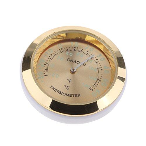 perfk Mini Auto Thermometer Temperaturanzeige aus Legierung, 38x38x15 mm, um 360 Grad gedreht - Gold