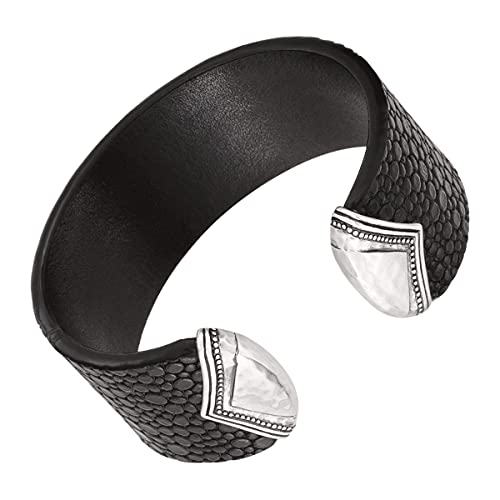 Silpada 'Sting Ray' Genuine Leather and Sterling Silver Cuff Bracelet, 7.5