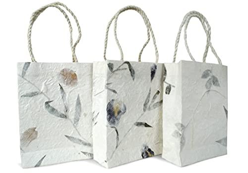 Öko-Tragetasche Geschenkverpackung handgefertigt Bougainvillea, Iris und Blätter Small - Stück pro Packung 3 (18cm x 12cm x 5cm)