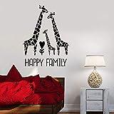 Familia feliz pegatinas de pared linda jirafa amor guardería niños dormitorio habitación de bebé decoración del hogar vinilo pegatinas de pared mural