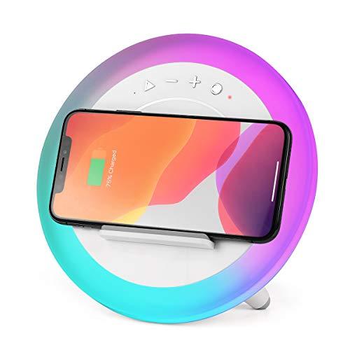 WILIT A21 RGB Nachttischlampe LED, Qi Wireless Charger, HiFi Bluetooth-Lautsprecher und Handyständer, Buntes Stimmungslicht, Kabelloses Ladegerät für iphone 11/X/8, Samsung Galaxy S10/S9/S8, Weiß