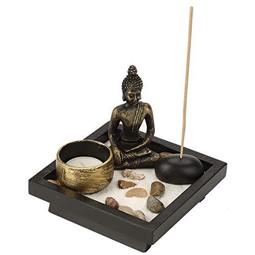 Hztyyier Mesa Budismo Candelabro Inicio Jardín Zen Buda Estatua Conjunto de Incienso para decoración Meditación de relajación