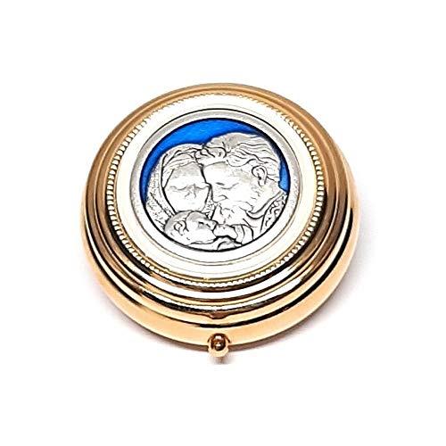 DELL'ARTE Artículos religiosos, caja para rosario de latón dorado de 5 cm con placa esmaltada Sagrada Familia
