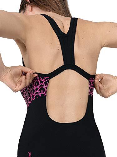 Speedo Boom Splice Muscleback Bañadores de Mujer para Natación, Color Negra/Rosa eléctrico, Talla 48