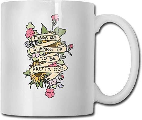 El arte de la flor es bastante extraño Taza de café blanca de cerámica única Taza de té para la oficina Diversión en el hogar Regalo novedoso Taza de bebida divertida de 11 oz para hombres y mujeres