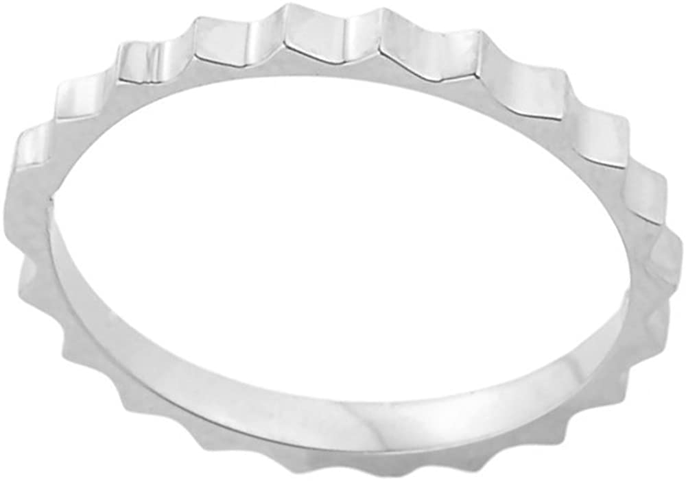 Stacking 14k White Gold Sizable Gear Cut Toe Ring