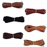 FOGAWA 6 Pcs Cordón de Ante Falso de 3mm Tiras de Cuero para Colgante Cuerda de Cuero Sintético Puede Coincidir Colgante para Pulseras Collar Bisutería Rebordear DIY Artesanía 6 Colores