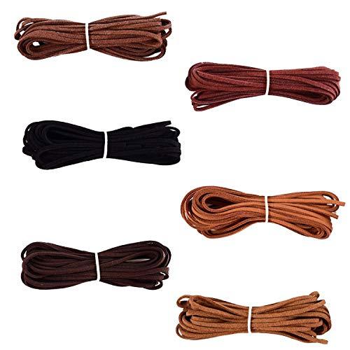 FOGAWA 6 Stück Lederband Lederschnur Faden Lederbänder Faux Wildleder für Armband Halskette Traumfänger Schmuck Schlüsselanhänger DIY Handgefertigte Handwerk, je Rolle 4.95m x 2.5mm (6 Farben)