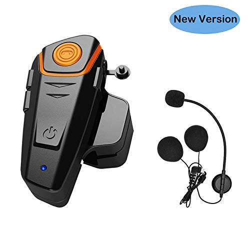Thokwok Intercom Moto Bluetooth, BT-S2 Oreillette Bluetooth pour GPS Moto Kit Main Libre pour Casque Moto Ski 1000m Interphone sans Fil
